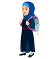schoolgirl with backpack on a white background vector image vector image