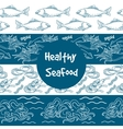 Seafood seamless borders set