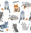 seamless pattern with different funny cats and vector image