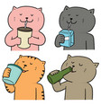 set cat drinking vector image vector image