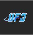 ufo logo blue lettering for t-shirt print emblem vector image vector image