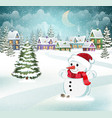 winter scene with snowman vector image vector image