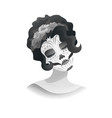woman with sugar skull makeup and wreath of roses vector image vector image