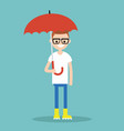 young smiling character with umbrella wearing vector image vector image