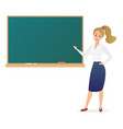 young woman teacher standing in front of blank vector image