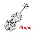 Musical notes and symbols shaped like a violin vector image