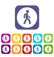 pedestrians only road sign icons set vector image