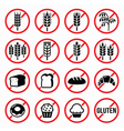 Gluten free signs no wheat no bread no cake vector image