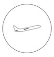 airplane black icon in circle isolated vector image vector image