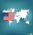 American Flag on the map vector image vector image