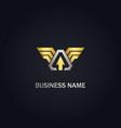 arrow wing emblem gold logo vector image