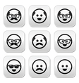 Bald man with mustache and in glasses faces button vector image vector image