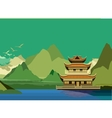 Buddhist temple side of the river vector image vector image