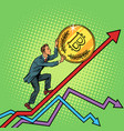 businessman roll a bitcoin coin up vector image vector image