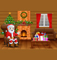 canta claus sitting in sofa near decorated pine tr vector image