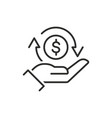 cashback icon return money cash back rebate thin vector image