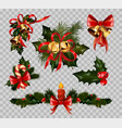 christmas decoration fir wreath bow elements vector image vector image