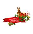 christmas holiday ribbon banner with gift vector image
