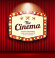 cinema theater hexagon sign red curtain light up vector image vector image