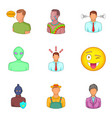 face icons set cartoon style vector image vector image