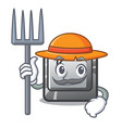 farmer button k isolated with mascot vector image vector image