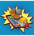 Fast food dinner pop art style vector image vector image