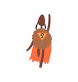 funny superhero sheep character in an orange cape vector image vector image