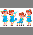 girl kindergarten kid poses set little vector image vector image