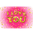 gold glitter heart greeting card for valentine vector image vector image