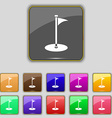 Golf icon sign Set with eleven colored buttons for vector image vector image