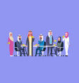 group of arabic business people drink tea or vector image vector image