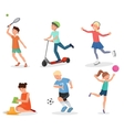 Happy cute school children kids playing and sport vector image vector image