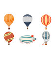 hot air balloon and airship icons set vector image vector image