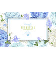 hydrangea horizontal banner blue vector image vector image