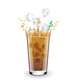ice latte with splashes isolated on white vector image vector image