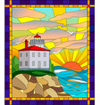 in stained glass style lighthouse vector image