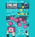 internet online shopping flat poster vector image vector image