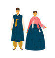 korean couple wearing traditional costumes female vector image vector image