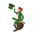 leprechaun with a bottle sitting on a pot vector image vector image
