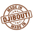 made in djibouti brown grunge round stamp vector image vector image