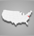 maryland state location within united states 3d vector image vector image