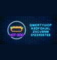 neon glowing sign of hot dog in circle frame with vector image vector image