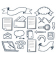 office supplies with banners icons set vector image