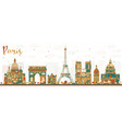 paris france skyline with color landmarks vector image vector image