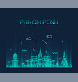 phnom penh skyline cambodia trendy linear vector image vector image
