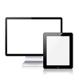 realistic computer tablet and computer monitor on vector image vector image