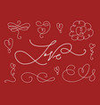 romantic calligraphic elements set vector image vector image