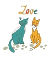 Romantic cats couple vector image vector image