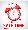 sale promotion with alarm clock vector image vector image