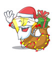 santa with gift kite with on clouds shape vector image vector image